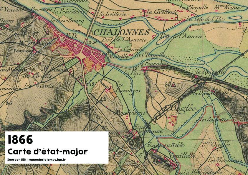 Carte d'état major en 1866 - Source : ign.fr