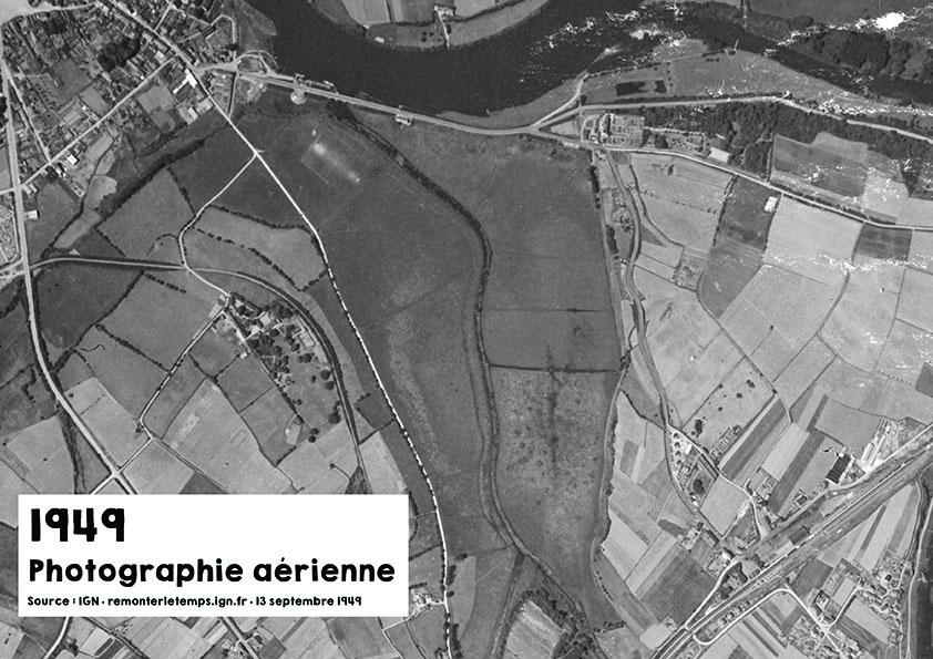Vue aérienne du Layon en 1949 - Source : ign.fr